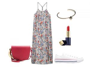 Outfit estivo: elegante e fresco l'abito accompagnato da comode Sneackers. Image Courtesy of Bigodino.it